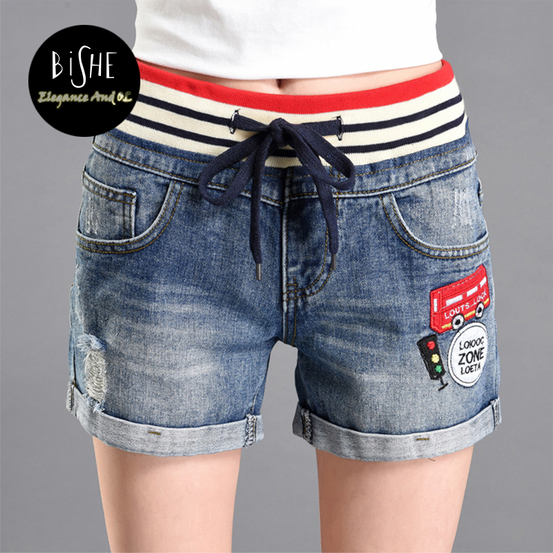 BiSHE 2017 Summer Casual High Waist Shorts Women Hole Blue Denim Appliques Elastic Waist Girl Ripped Jeans Shorts Pantalon Femme summer women fashion high waist jeans shorts worn hole straight denim shorts solid blue curling edge poket casual shorts