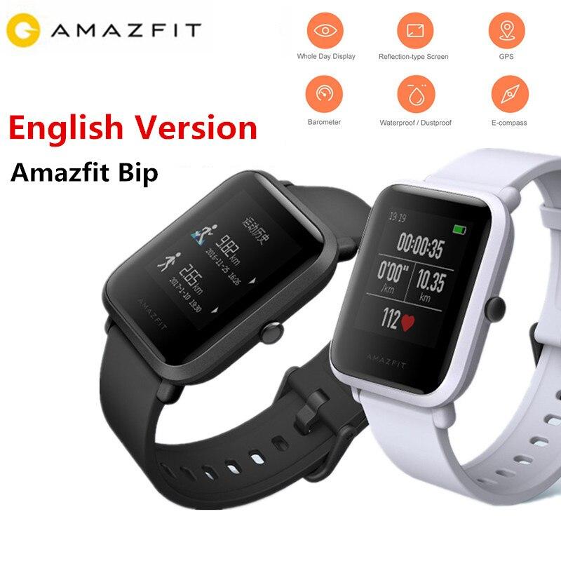 Xiaomi Amazfit Bip Смарт-часы Huami gps Smartwatch темп Lite Bluetooth 4,0 сердечного ритма 45 дней в режиме ожидания IP68 английская версия