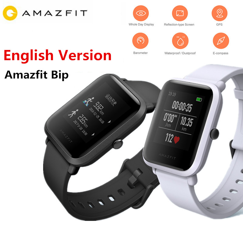 Xiaomi Amazfit Bip Smart Watch Huami GPS Smartwatch Pace Lite Bluetooth 4.0 Heart Rate 45 Days Standby IP68 English Version huami amazfit smart watch xiaomi smartwatch bip bit face gps fitness tacker heart rate ip68 waterproof english version