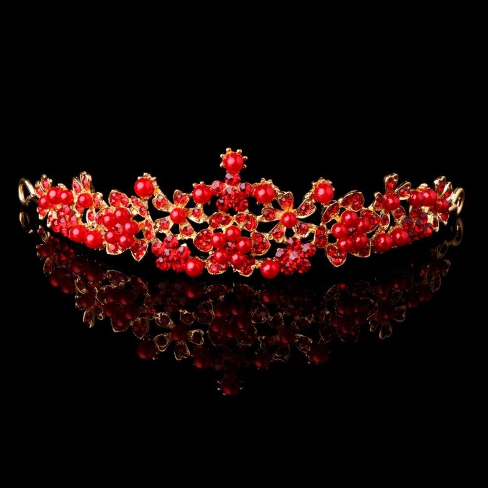 Javrick 2017 Neue Braut Hochzeit Roten Strass Faux Perle Tiara Stirnband Crown Haarschmuck #2s40670 # Geschickte Herstellung Brautschmuck Sets