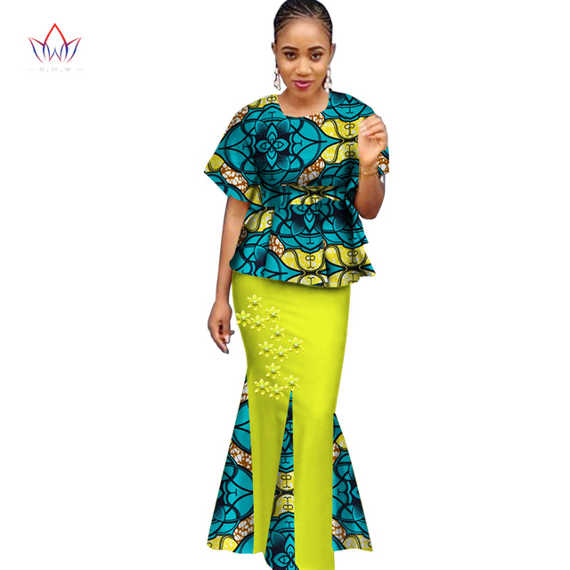 2017 Traditional African Clothing Bazin Riche Dress with Headscarf 2 Pieces Set  Tops   African Print Skirt Plus Size 6XL WY1677 46af9080ec03