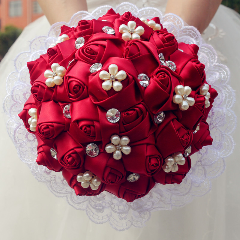 Stock Artificial bridal Hands Holding Rose Flowers Handmade Dried Wedding Photography Props Bridal Flowers Bouquets W2286