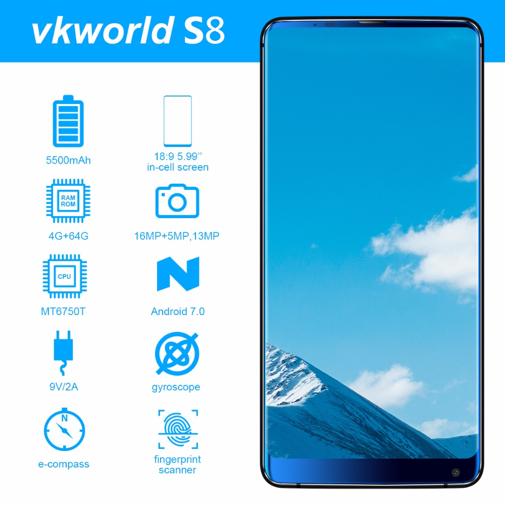 Vkworld S8 5.99 FHD + 18:9 in-MTK6750T celular Mobile Phone Android 7.0 Octa Núcleo 4 GB RAM 64 GB ROM 16MP Dual camera 4G Smartphone