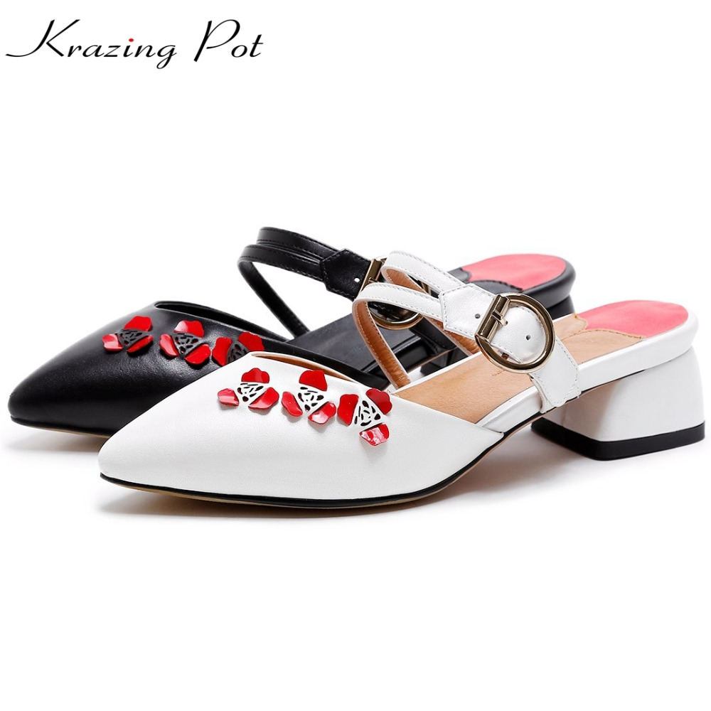 Krazing Pot genuine leather slip on metal decoration flowers pointed toe preppy style British school med heels women mules L88 krazing pot 2017 fashion brand shoes patent genuine leather slip on pointed toe preppy style flower med heels women pumps l12