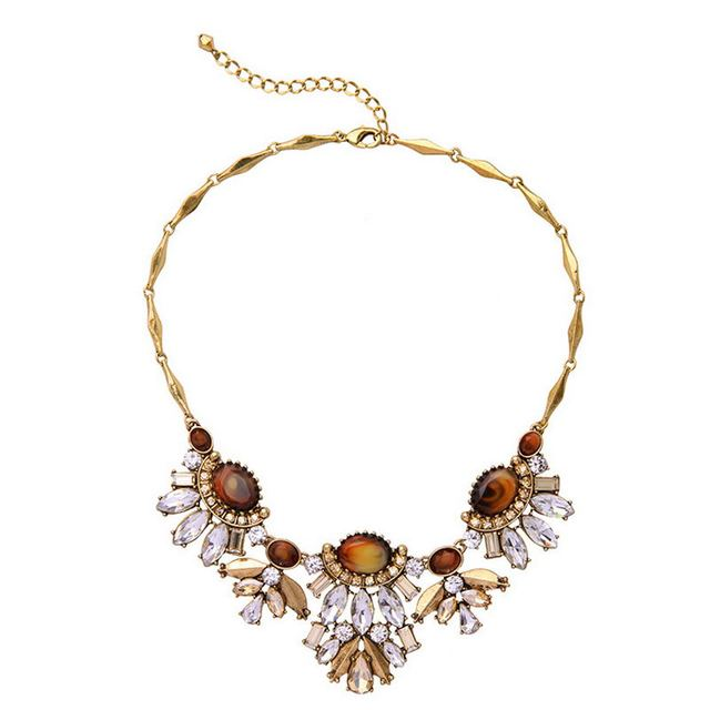 Wholesale Fashion Vintage Jewelry Antique Gold Crystal Statement Necklace Pendant Women Neckalce