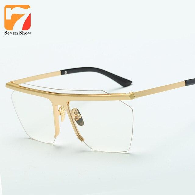 f1cc824005f Oversized Cat Eye Clear Lens Glasses Frame Men Women Vintage Gold Frames  Retro Myopia Glasses Female