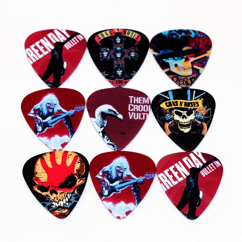 SOACH 50pcs Bass Guitar Picks Rock Band Pattern Plucked Instrumento Accessories Guitarra / Acoustic Guitar / Ukulele Parts