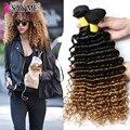 7a Peruano Profunda Curly Virgem Cabelo Extensões de Cabelo Ombre 3 pçs/lote três Tom Onda Profunda Encaracolado Ombre Loira Tecer Remy Humano cabelo