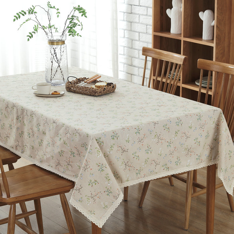 Pastoral Retangular Dining Tablecloth Small Flower With Lace Linen Cotton  Dustproof Table Cover Wedding Coffee Table