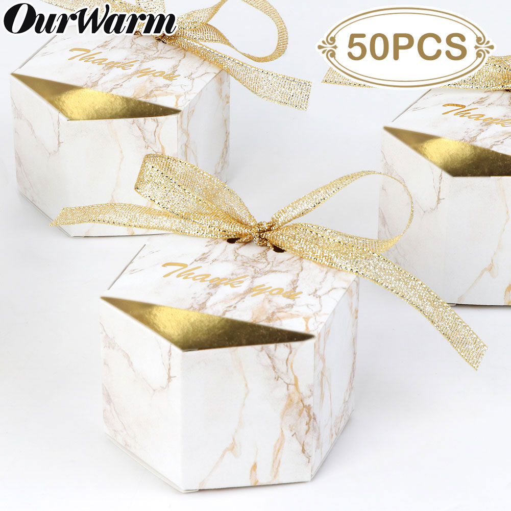 OurWarm 50/20pcs Creative Marble Style Candy Boxes Diamond Wedding Favors Party Supplies Baby Shower Paper Thanks Gift Boxes