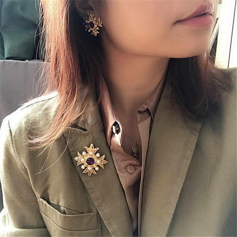 Ретро мода имитация жемчуга полудрагоценный камень крест брошь 925 Серебро иглы серьги клипсы ожерелье костюмы