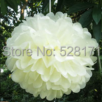 Free Shipping Wholesale 10pcs 25cm(10inch) Ivory Color Tissue Paper Pom Poms Wedding Party Decoration Paper Flower Ball