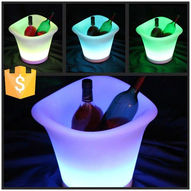 16 cor mudar led recarregável de plástico luminoso balde de gelo refrigerador de vinho Illumianted impermeável IP65