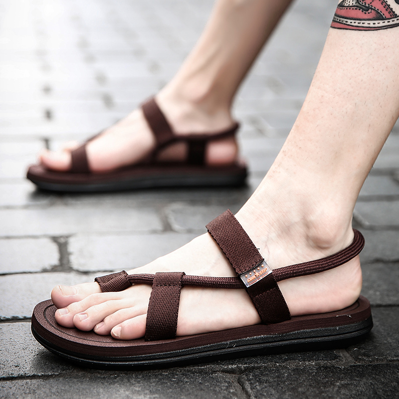 Summer Shoes for Male Black Brown Outdoor Footwear Breathable Walking Sandals Man Rubber Bottom Anti-slip Flat Sandals for Men