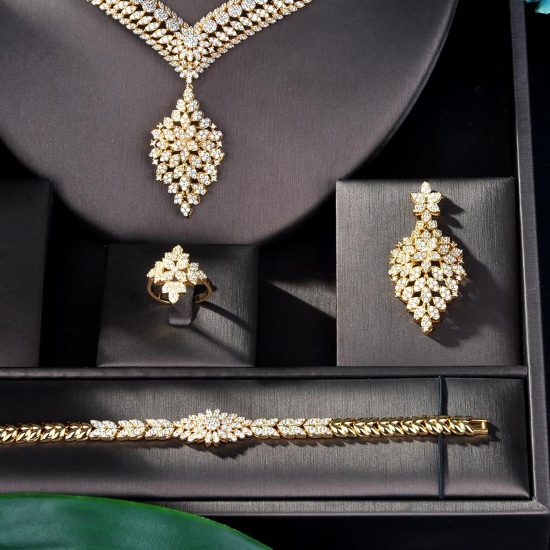 HIBRIDE luksusowy projekt złoty kolor Wedding Bridal Cubic naszyjnik cyrkoniowy dubaj 4 sztuk sukienka zestaw biżuterii dla Party prezenty N 833 w Zestawy biżuterii od Biżuteria i akcesoria na  Grupa 2
