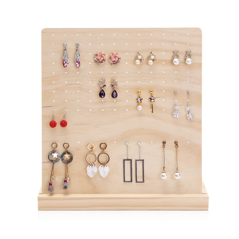 Mordoa New Listing 120 Holes Wood Earrings Organizer Jewelry Holder Necklace Bracelet Rack Jewelry Display Stand Jewelry Packing