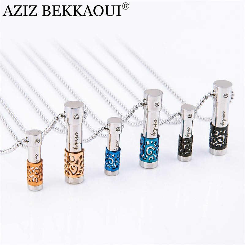 AZIZ BEKKAOUI 316L สแตนเลสขวดน้ำหอม Lover Necklaces & จี้สำหรับผู้หญิงผู้ชายคอนเทนเนอร์น้ำหอมจี้สร้อยคอ
