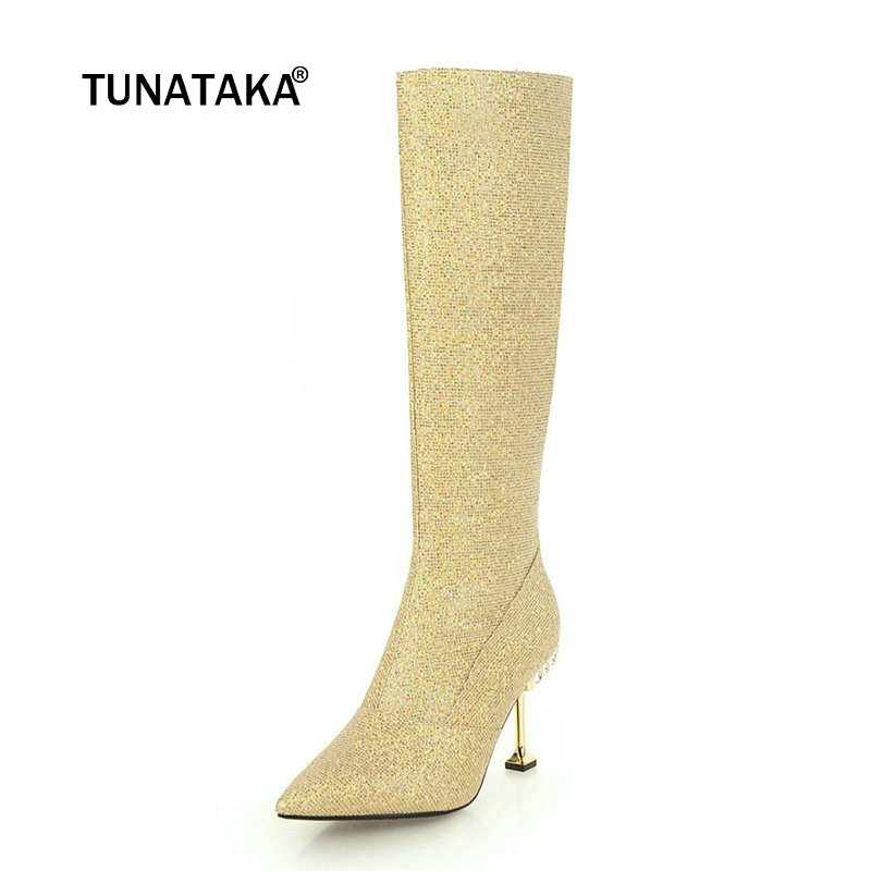 Women Sequined Cloth Crystal Thin Heel Knee High Boots Fashion Zipper Boots Ladies Pointed Toe Warm Winter Shoes Black Silver meotina knee high boots winter platform high heel boots pointed toe fashion shoes crystal flower long boots zipper black 42 43