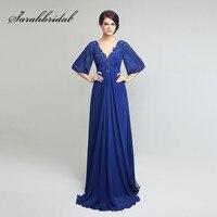 Royal Blue Long Mother Of The Bride Dresses Vintage Lace Applique V Neck Backless Half Sleeves