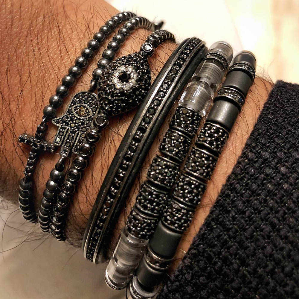 Unique Original Bangle Black Color Black Zircon Tube & Stainless Steel Beads Stringed Up Women Men Bracelets Summer Jewelry Gift