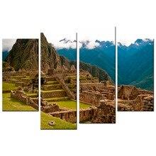 4 Pcs/Set  HD Panels Canvas Print Landscape Machu Picchu Surrounded By Hills Pictures Oil For Home Modern Decoration