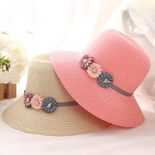 28a1ebd65e9 HT1290 2017 Korea Women Straw Summer Hat with Daisy Flower Female Solid  Wide Brim Beach Sun Hat Lady Round Top Panama Floppy Hat