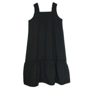 4 a 16 anos crianças e adolescentes meninas outono verão sólido preto sem mangas algodão casual macacão vestido criança moda alargamento vestido
