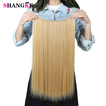 SHANGKE 24'' Flip On Wire In Synthetic Hair extension Hidden Invisible Not Clip In Headband Straight High Temperature Fiber