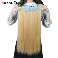 SHANGKE 24'' Flip On Wire In Synthetic Hair extension Hidden Invisible Not Clip In Headband Straight High Temperature Fiber(China)