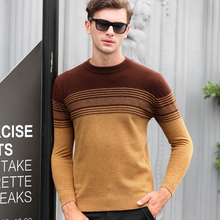 High Quality 100% Wool Sweater Men Autumn Winter Knitted Cashmere Sweaters Fashion Striped O-Neck Pullover Male