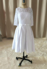 2016 White Ivory New Custom Matched Bow Sash Knee Length A Line 3 4 Sleeve Lace