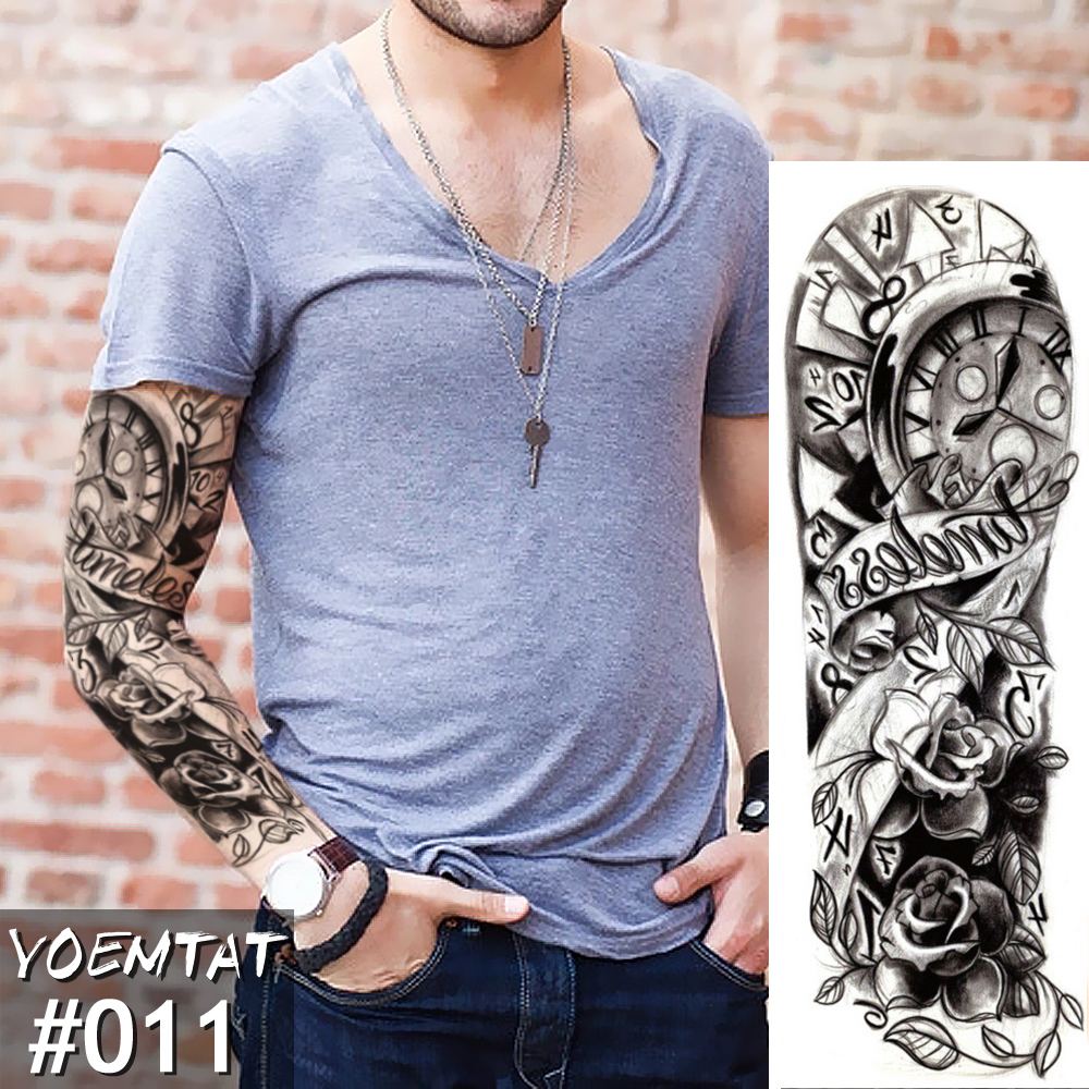 New 1 Piece Temporary Tattoo Sticker Clock Rose Full