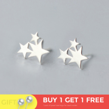 100% 925 Sterling Silver Three Star Stud Earrings For Women Prevent Allergy Brincos pendientes mujer moda 2019 Brincos
