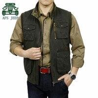 AFS JEEP 3XL 4XL Plus Size Men S 1005 Cotton Cargo Vest Outdoor Mutil Pockets Autumn