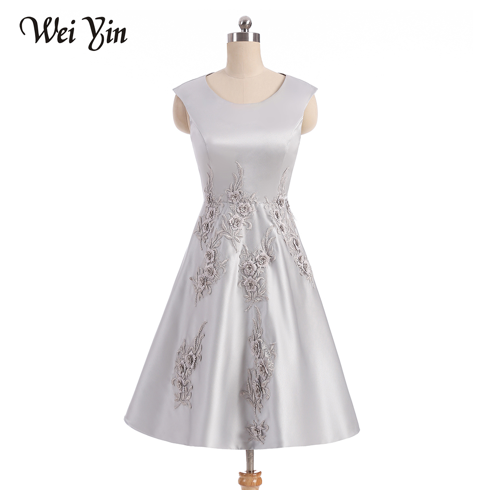 WeiYin Vestidos De Fiesta Short Scoop Formal Gown Lace up back Embroidery Short Cute Robe De   Cocktail     dress