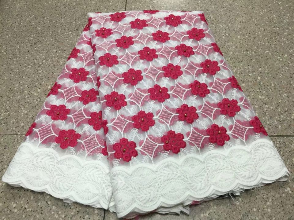 5 Yards/pc Beautiful white french net lace fabric with beads and red flower design african mesh lace for dress BN99-45 Yards/pc Beautiful white french net lace fabric with beads and red flower design african mesh lace for dress BN99-4
