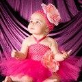 Dulce de Lujo Hot Pink Peony Flor Tutu Vestido Del Bebé Hecho A Mano Del Ganchillo Tutu Dress con Diadema para el Banquete de Boda Foto TS087