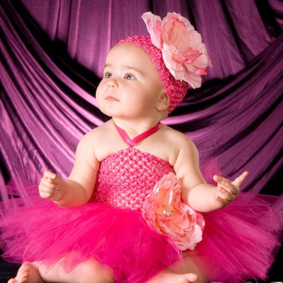 Sweet Luxury Hot Pink Peony Flower Crochet Tutu Dress Baby Handmade Tutu Dress with Headband for Wedding Party Photo TS087