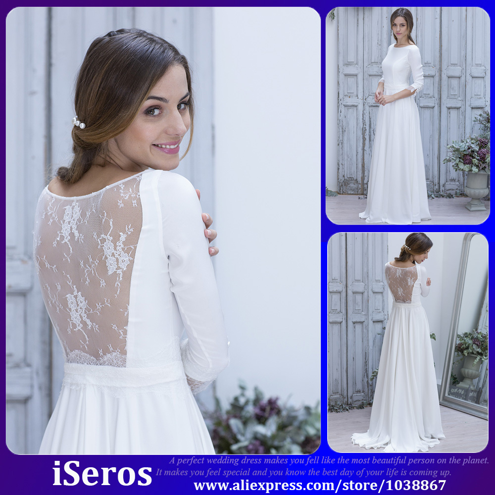 Simple Long White Dress With Sleeves Naf Dresses: Simple Elegant White Lace Illusion Long Sleeves Sexy Back