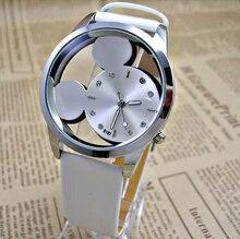 купить 2018 Fashion Mickey mouse Women Watches casual hollow dial leather wristwatches women dress quartz watch relogio feminino дешево