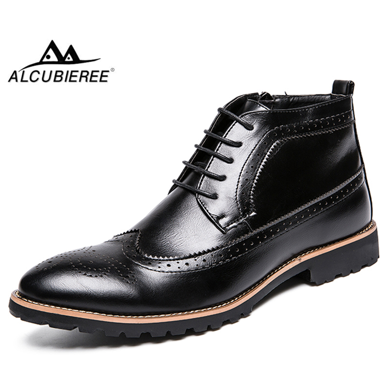 ALCUBIEREE Brand Men Fashion Chukka Boots Male Lace-up Brogue Style Ankle Shoes Casual Leather Zipper Chelsea Boot Big Size 45