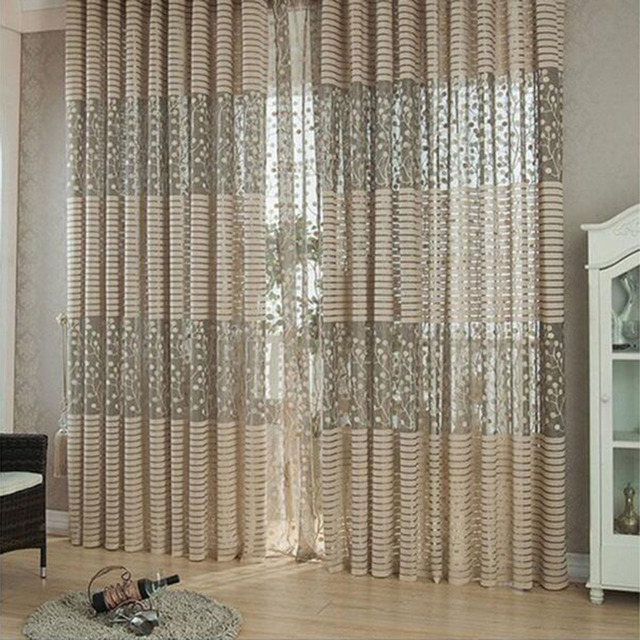 warp knitting leaf pattern tulle window curtain sheer curtains for livingroom bedroom jacquard embroidered curtain panel - Sheer Curtain Panels