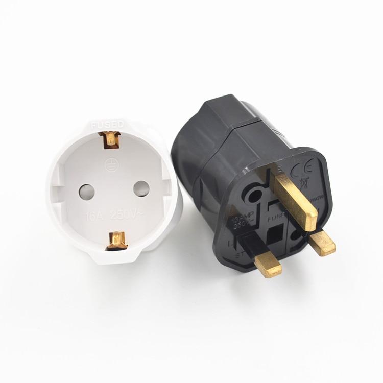 Uk Plug Adapter 5x5x7cm 250v European Euro Eu Sockets 2 Pin To Uk 3