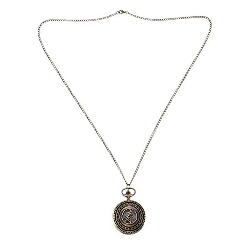 Pocket Watch Engraved Hollow Text Bronze Quartz Retro Elder Gift Hanging Watch