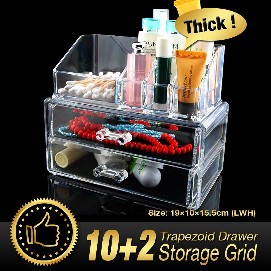 12 Gird 3 Layer Drawers Organizer Storage Box jewelry Make up Case Lipstick Storage Holder Skin Care Clear Acrylic EQC366 POK