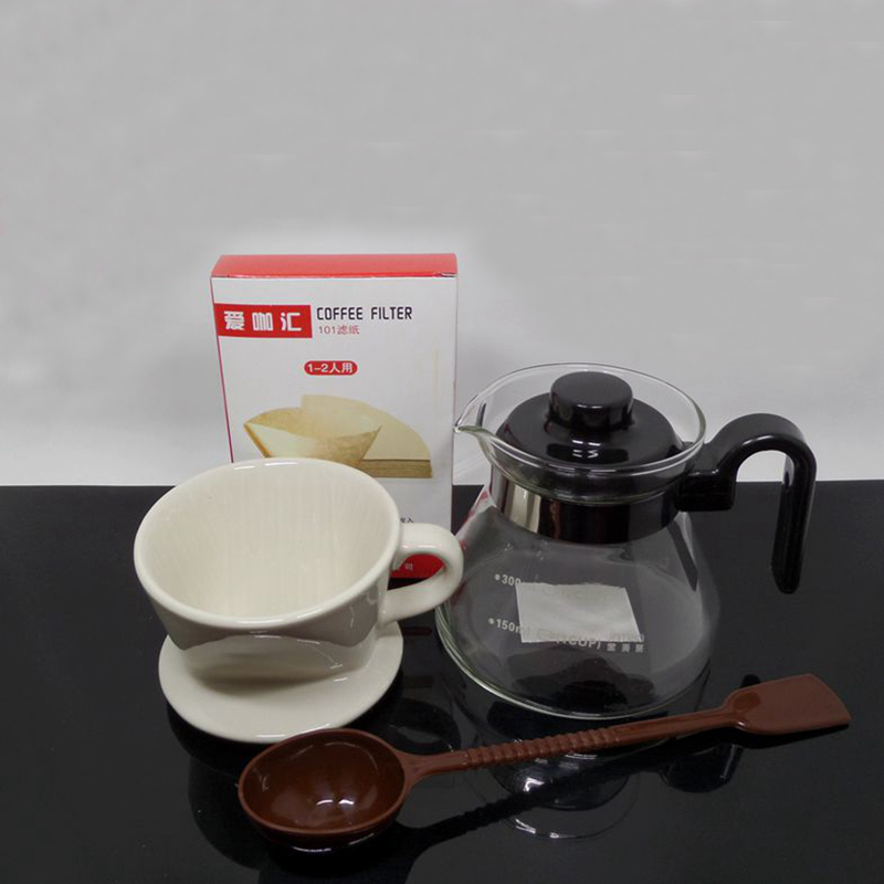 Coffee Maker Homekit : coffee dripper 101/102 coffee maker kit suit ceramic filter cup+glass share pot+40 pcs filter ...