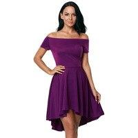 Summer Women Sexy Mini Purple Dress Short Sleeve A Line Elegant Slash Neck Formal Party Dress Girls Plus Size 2xl High Waist Hot