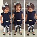 3Pcs Baby Kid Girl Outfits Short Sleeve Top T-shirt+Zebra Stripe Pants+Belt Set 2-11T