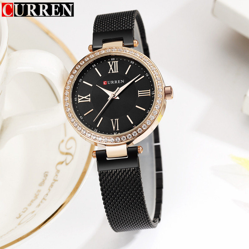 Women Watches Curren Brand Luxury Gold Black Bracelet Quartz Watch Ladies Fashion Dress Jewelry Gifts Wristwatch For Women Clock kimio rose gold watches women fashion watch 2017 luxury brand quartz wristwatch ladies bracelet women s watches for women clock