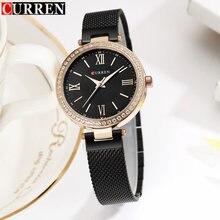 цена на Women Watches Curren Brand Luxury Gold Black Bracelet Quartz Watch Ladies Fashion Dress Jewelry Gifts Wristwatch For Women Clock